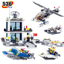 536Pcs City Police Station Building Blocks Sets Helicopter Ship Model SWAT Creator Bricks Compatible LegoINGLs Toys for Children