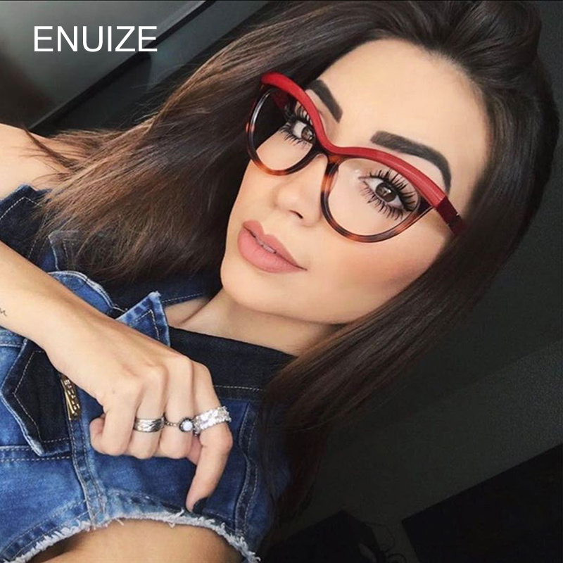 5aef35ac8f0 Vintage Cat Eye Plain Glass Retro Glasses Frame For Women 2018 Leopard Black  Clear Lens Oversized Eyeglasses Frames Women