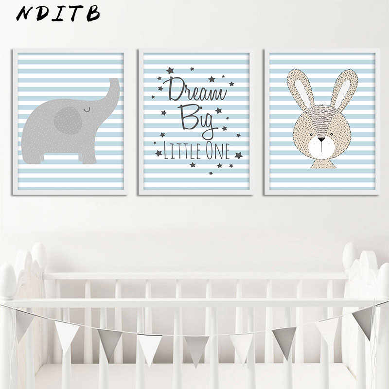 NDITB Woodland Animal Posters and Prints Baby Nursery Wall Art Canvas Painting Nordic Kids Decoration Picture Boys Bedroom Decor