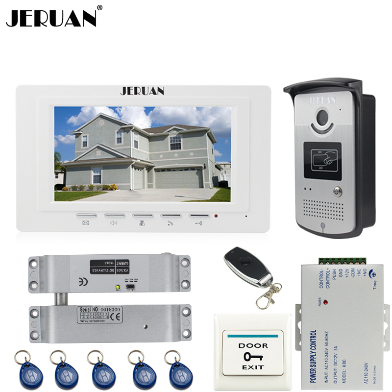 JERUAN new 7`` LCD  Video Door Phone System 700TVT Camera access Control System+Electric Bolt lock+Remote control Unlock jeruan black 8 lcd video door phone system 700tvt camera access control system cathode lock remote control 8gb card