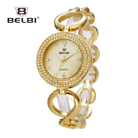 BELBI Luxury Brand Women Stainless Steel Watches Fashion Gold Plated Crystal Quartz Watch Ladies Casual Dress