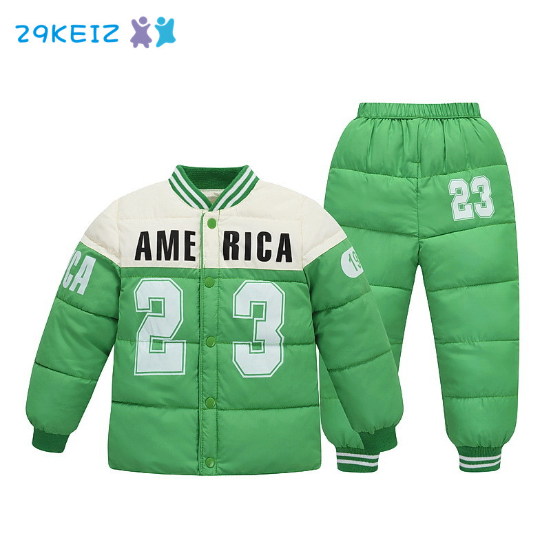 29KEIZ Kids Winter Clothing Set 100% Cotton Letter Printed Girls Boys Sports Jacket & Pants Warm Outwear Coat Children Parkas