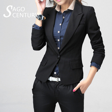 2017 Slim Short Spring Autumn Women Long Sleeve Blazer Work Office Lady Business Outwear Tops Casual Coat Black Jacket