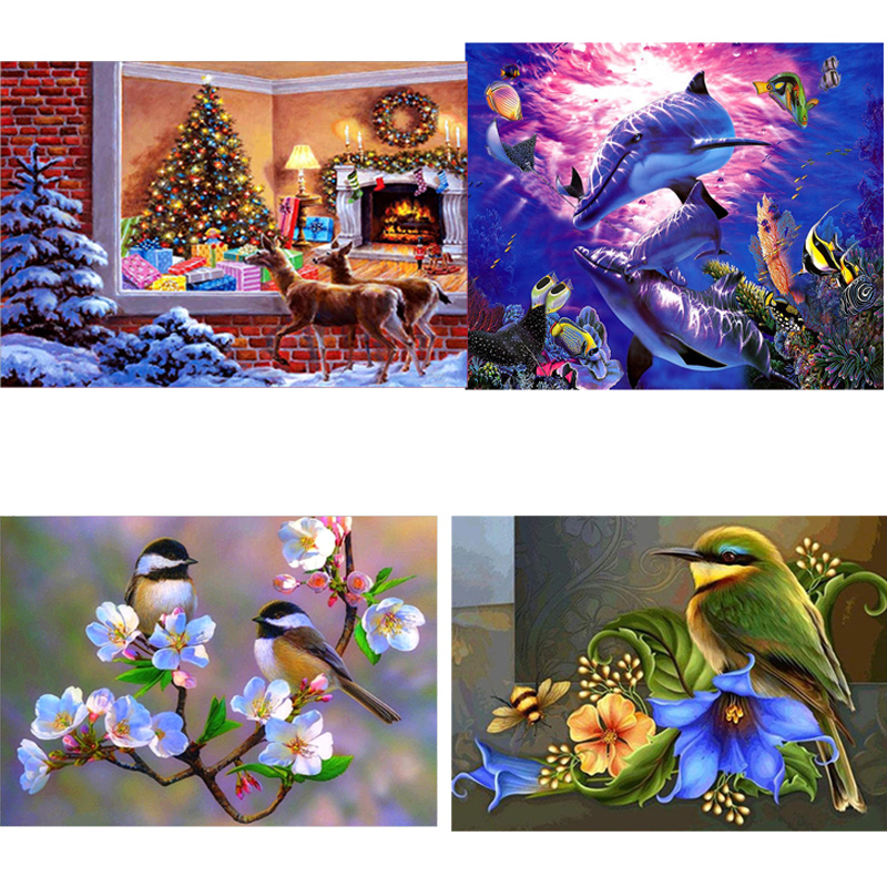 5D Diamond Painting Cross Stitch Different Pattern 5D DIY Diamond Painting Round Diamond Embroidery Picture Home Decor Craft