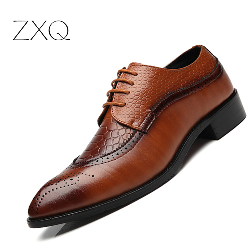 ZXQ New Arrival British Style Men Classic Business Formal Shoes Pointed Toe Retro Bullock Design Men Oxford Dress Shoes 2016 summer new retro british style men s business suits round leather shoes shoes oxford shoes bullock carved free shipping