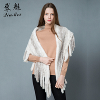 Knitted Genuine Mink Fur Poncho Scarves 2018 New Women's Winter Luxury Cape Tassel Real Fur Wraps Shawl Stole Mink Fur Scarf