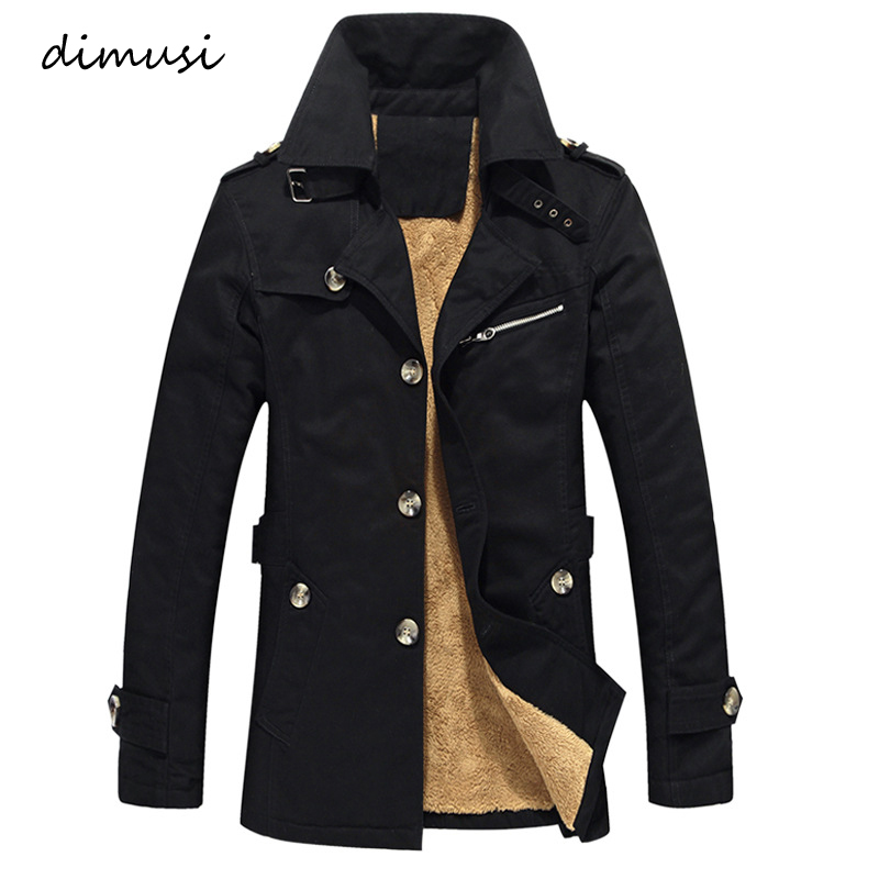 DIMUSI Men's Winter Jacket Fashion Windbreaker Military Army Waterproof Men Long Thick Fleece Warm Trench Jacket Coats ,TA125