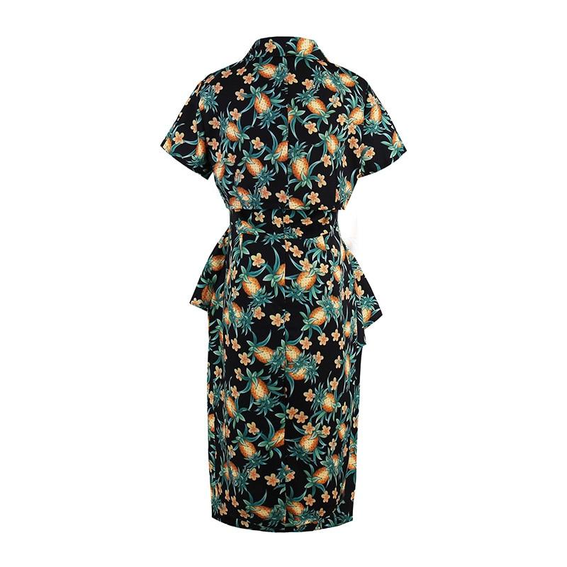 Vintacy Womens Sets Brand Summer Women Suits 2 Two Piece Crop Top+Dress Set Pineapple Print Short Sleeve Knee-Length Womens Set