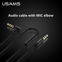 Aux Cable for IOS Android Phone USAMS L Shaped Aux Cable With MIC For Universal mobile phone 1m Stereo Audio cable for speaker