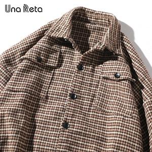 Image 5 - Una Reta Men Shirt Autumn and Spring New Brand Hip Hop Retro Lapel Shirt Men Fashion Streetwear Lattice Single Breasted Shirts