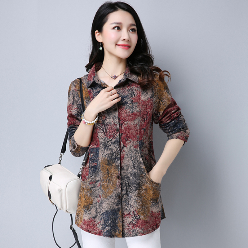 2019 New Spring Cotton Linen Women Blouse Casual Loose Long Sleeve Blouses Shirts Plus Size Floral Female Blusas Tops