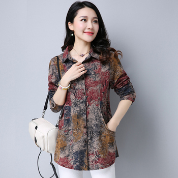 2020 New Spring Cotton Linen Women Blouse Casual Loose Long Sleeve Blouses Shirts Plus Size Floral Female Blusas Tops new plus size women tops blouses long sleeve button turn down collar contrast color spring autumn casual ladies shirts blusas