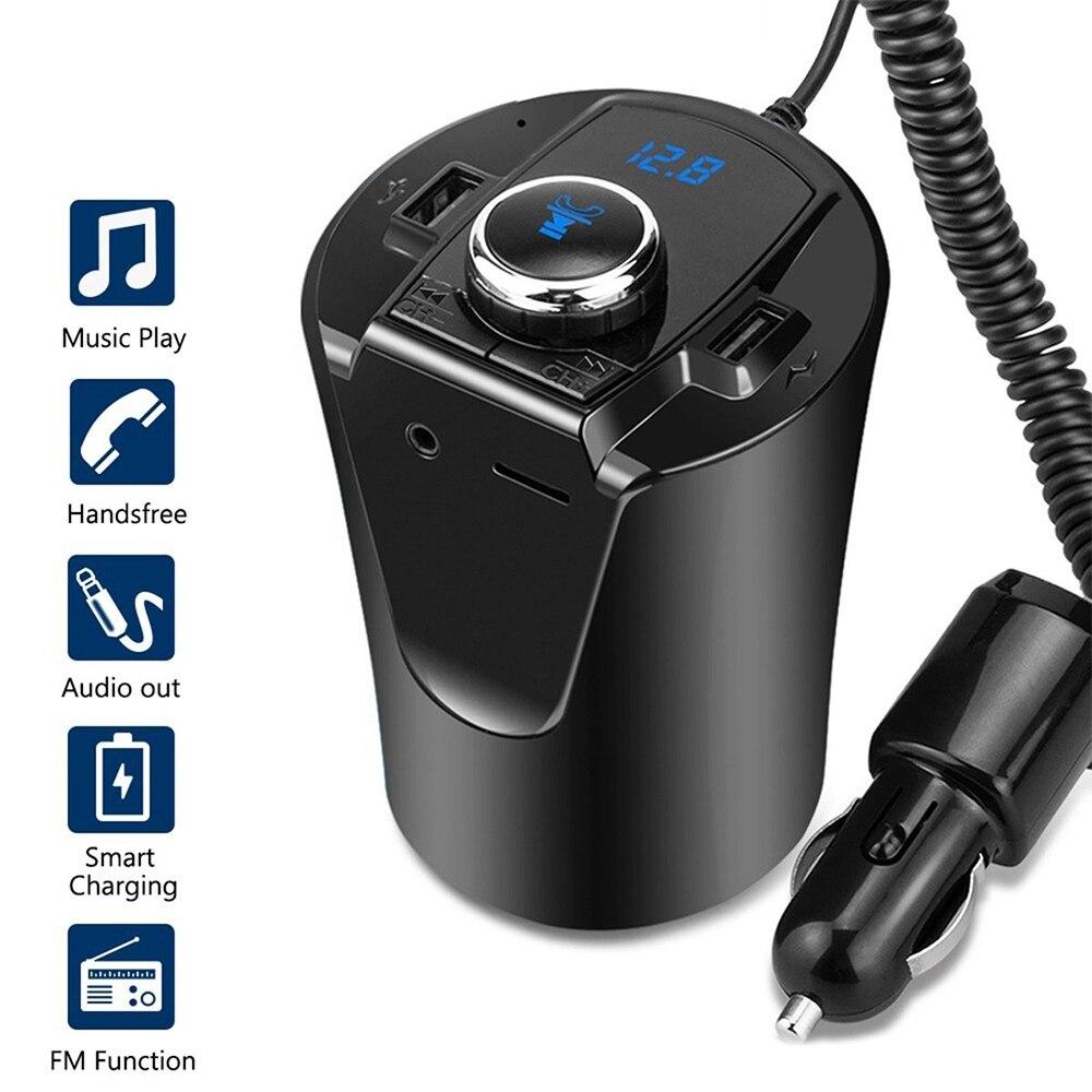FM Transmitter Wireless Cup Bluetooth4.2 Car Radio Adapter Handsfree W//USB Ports