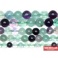 """Livraison gratuite pierre naturelle Fluorite verte ronde perles en vrac 15 """"brin 4 6 8 10 MM Pick Size pour la fabrication de bijoux AB15"""