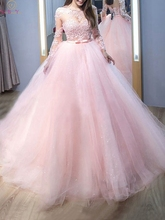2019 New Quinceanera Dresses Pink Scoop Neck Floor Length Long Sleeve Appliques Ball Gown Formal Party Ceremony Graduation Gowns