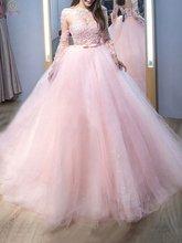 Розовые Бальные платья quinceanera с глубоким вырезом длиной