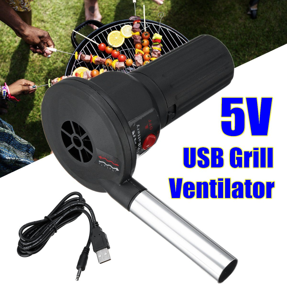 Hot Sale 5V DC USB Cable BBQ Fan Air Blowers  Grill Ventilator Barbecue Blower For Outdoor Camping Picnic Barbecue Cooking Tool