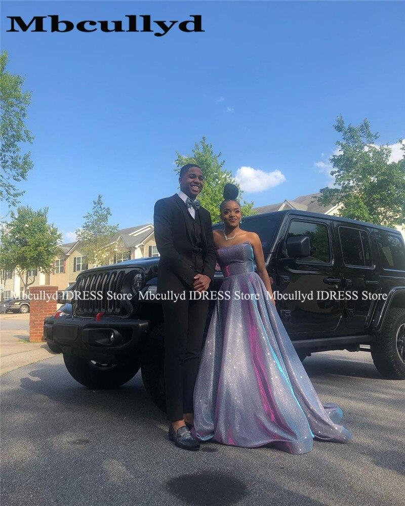 Élégant chérie robes de bal africaines Long balayage Train Sexy croix dos formel noir filles soirée robe de soirée 2019 robe de Gala