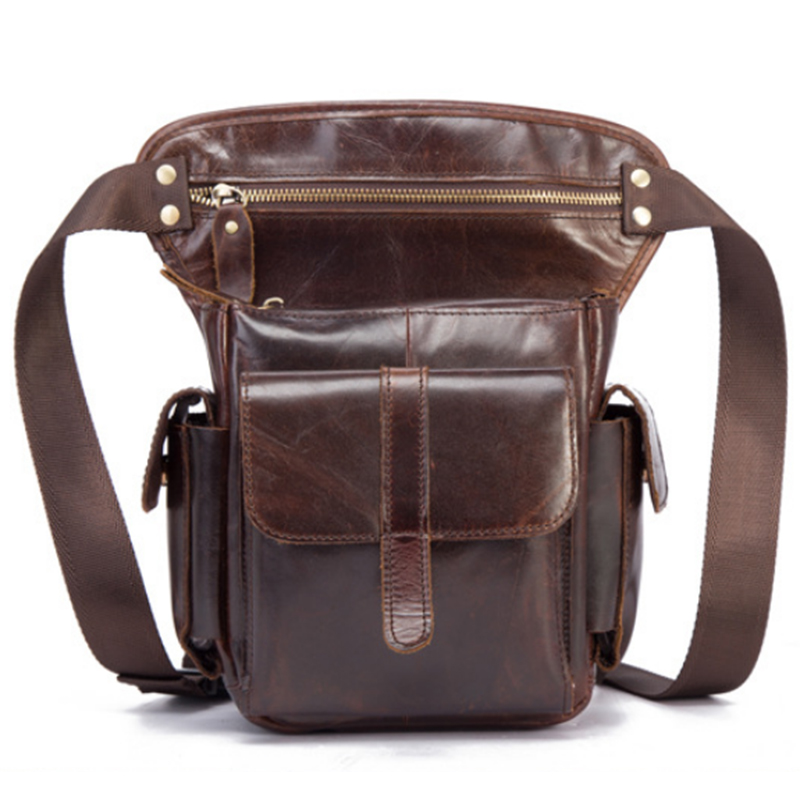 c5f7c13d303f Genuine Leather Thigh Drop Leg Bag Men Military Motorcycle Messenger Bag Oil  Wax Cowhide Fanny Pack Male Shoulder Waist Bags New