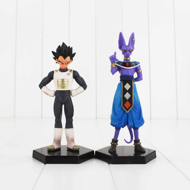 2 pçs/lote Beerus DragonBall Dragon Ball Z Vegeta PVC Figuras Collectible Toy Modelo com base