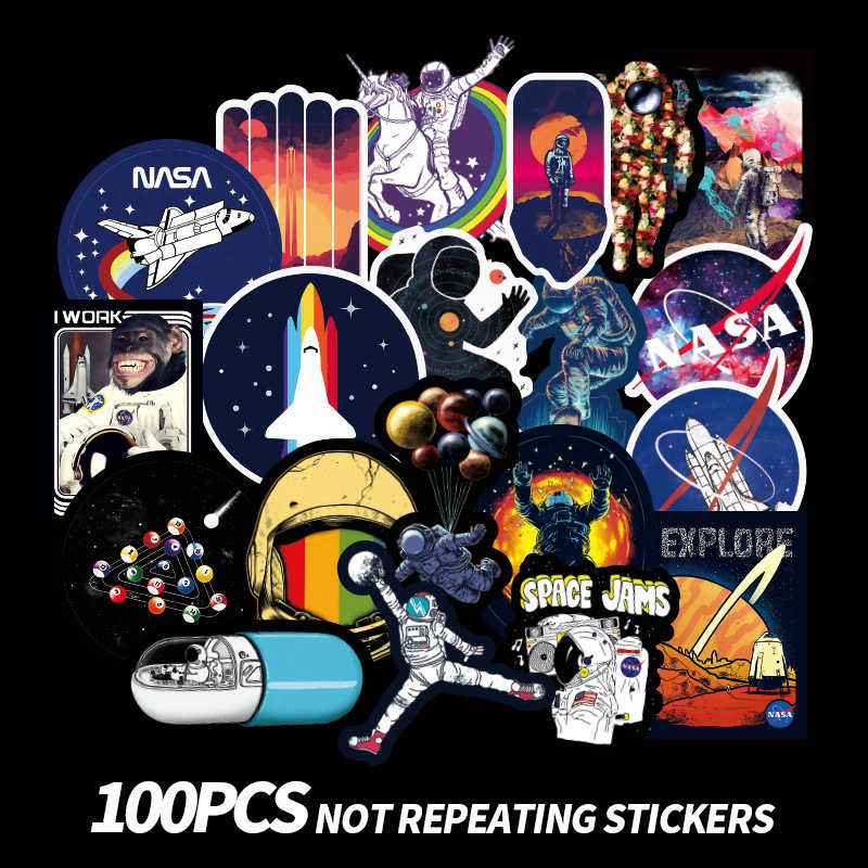 Universe Space Stickers Laptop Skateboard Sticker Children Toys Waterproof Luggage Graffiti Stickers Classic Toys 100pcs/Pack