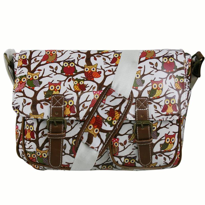 ФОТО 2016 women's shoulder bag colorful messenger bags messenger bags for women owl school bag Animal print OILCLOTH material