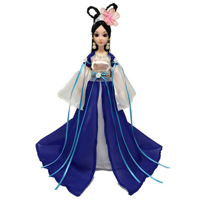 Doll Accessories Cosplay Traditional Chinese Ancient Beauty Costume Clothes For Barbie Doll Party Dress Evening Dresses Blue
