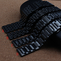 Nueva correa de Metal negro a prueba de agua Divers correa de reloj Band tamaño 20 mm para hombres relojes de primeras marcas comunes rectas end alta calidad