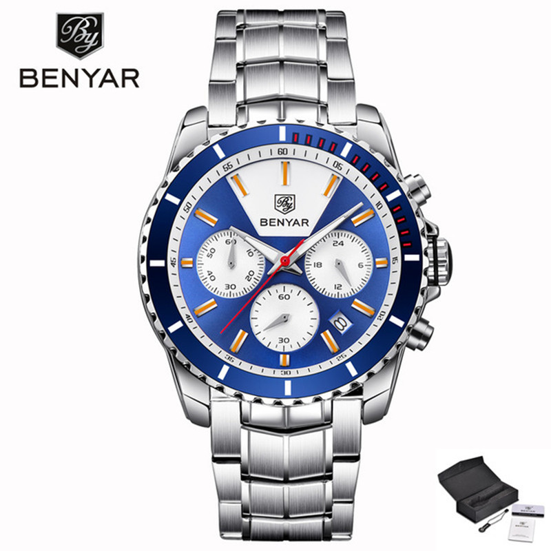 BENYAR Mens Watches Top Brand Luxury Watch Men Sport Chronograph Full Steel Quartz Wrist Watches for Male Clock Reloj Hombre все цены
