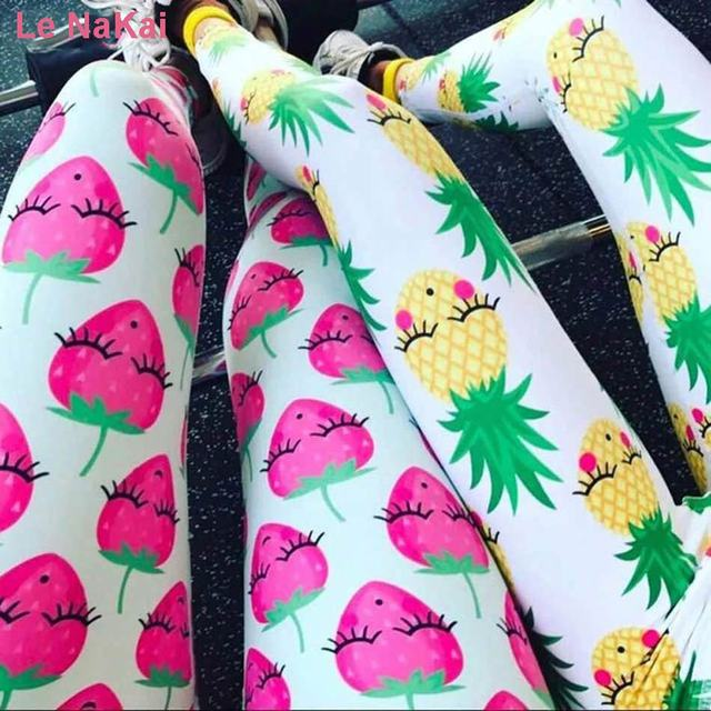 3dc0c97180 Le NaKai Cute Fruit Printed Women Yoga Leggings Smile Strawberry Pineapple  and Watermelon Printed Summer Fun Gym Tights