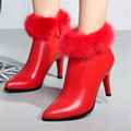 Europe and the United States  new large female winter fur ankle high-heeled shoes really boots shoes women33-43
