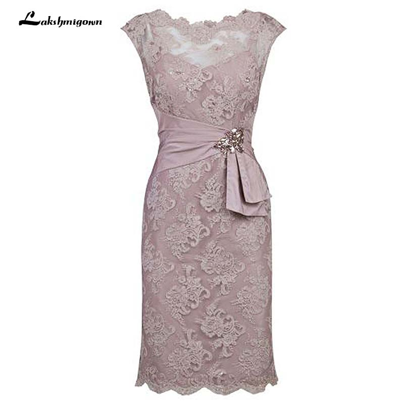 Sheath Scalloped-Edge Cap Sleeves Grey Lace Short Mother Of The Bride Dress With Beading Waist