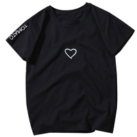 Top Women Summer Tees Cotton Lovers Heart Embroide ...