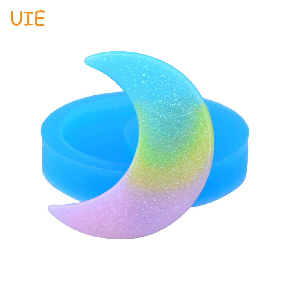 PYL596U 43.5mm Big Crescent Moon Silicone Mold - <font><b>Luna</b></font> Mold Cake Decoration Craft, Fondant, Resin, Gum Paste, Jewelry, Food Safe image