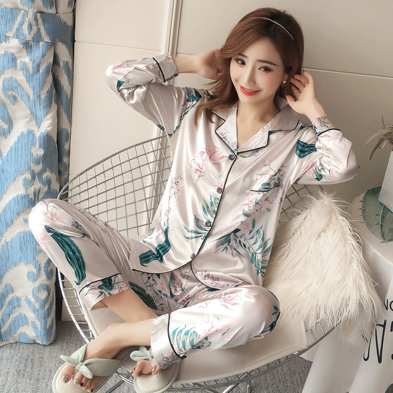Autumn Winter 2018 WAVMIT New Women Pyjamas Silk Long Tops Set Female Pajamas Set NightSuit Sleepwear Sets Long Pant Women Night in Pajama Sets from Underwear Sleepwears