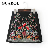 GCAROL Euro Style Embroidered Floral Totem Women Skirt Fashion Vintage Sexy Mini Skirt Stretch High Quality Skirt For 4 Season