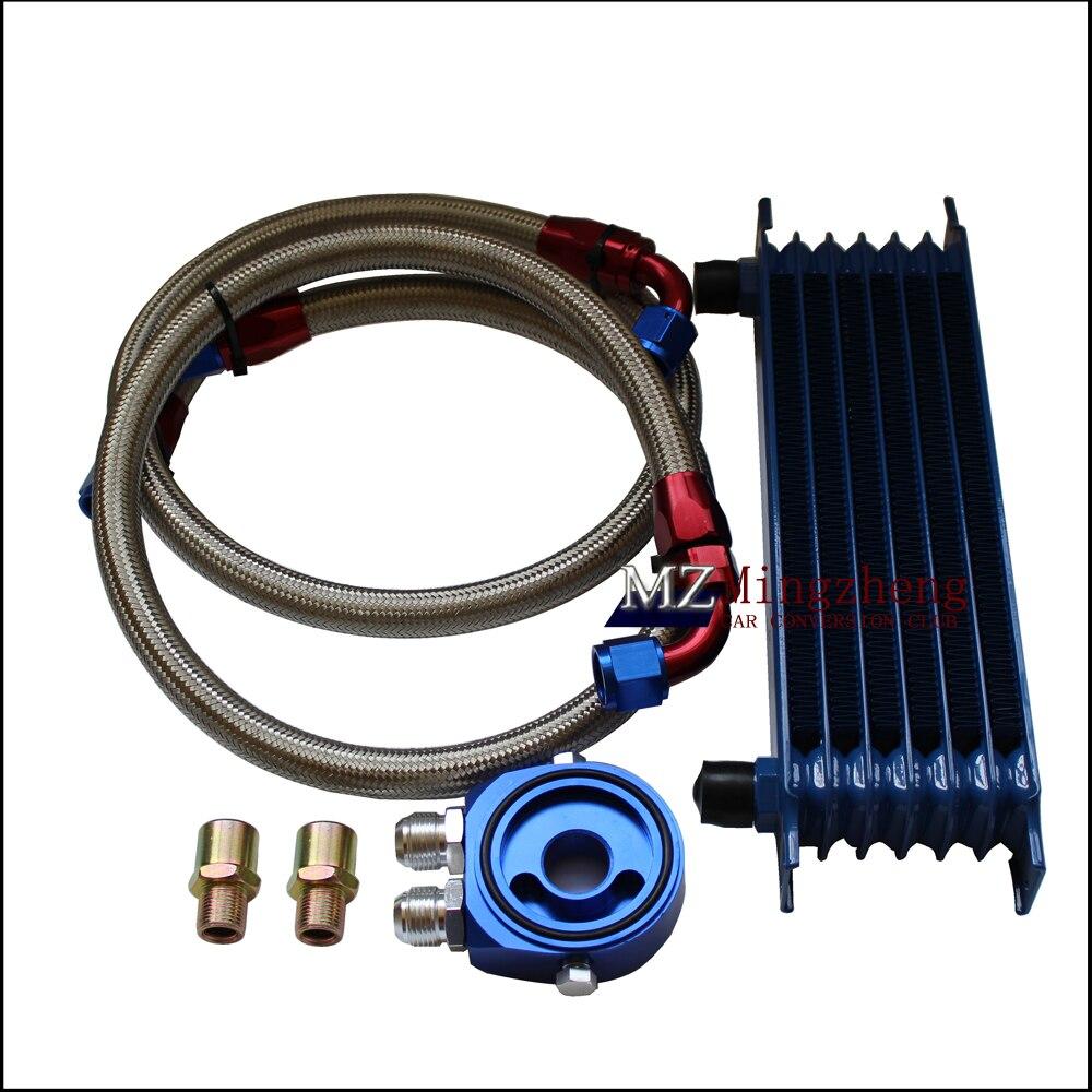 Accessoires auto 7 rangées Thermostat adaptateur moteur course huile refroidisseur Kit pour voiture/camion bleu AN10 moteur huile refroidissement Kit
