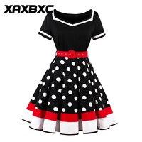XAXBXC 2017 Summer Vestido Polka Dot Patchwok Deep V Neck 1950s Vintage Swing Sleeveless Women Dress