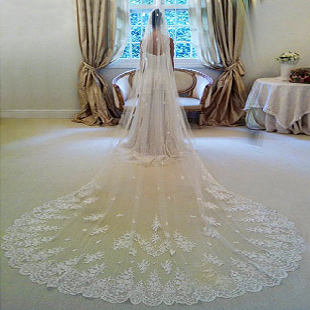 3 Meters Long Wedding Veil Bridal Veils White Ivory Lace Edge With Comb Accessories