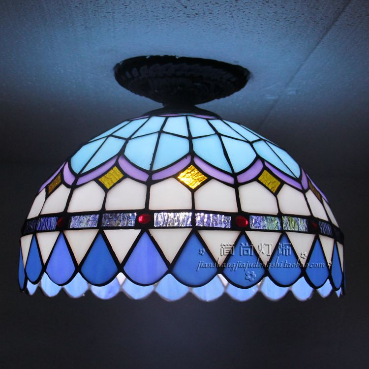 Tiffany LED blue Ceiling lamps living room bedroom balcony aisle porch lamp lighting creative personality Ceiling Lights DF101 creative star moon lampshade ceiling light 85 265v 24w led child baby room ceiling lamps foyer bedroom decoration lights