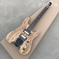 NEW Arrival Headless 24 Frets Electric Guitar, Portable Guitar, Nature Color, Spalted Maple Top, Zebra Pickups, Real photo shows