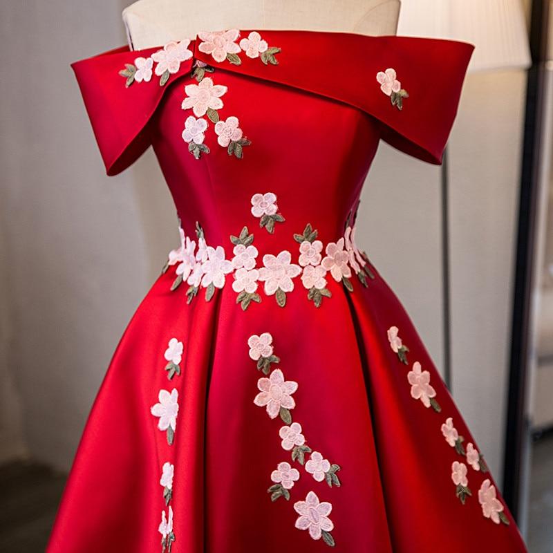 Op voorraad Echt foto rood boothals Korte mouw Plus size prom dresses - Jurken voor bijzondere gelegenheden - Foto 3