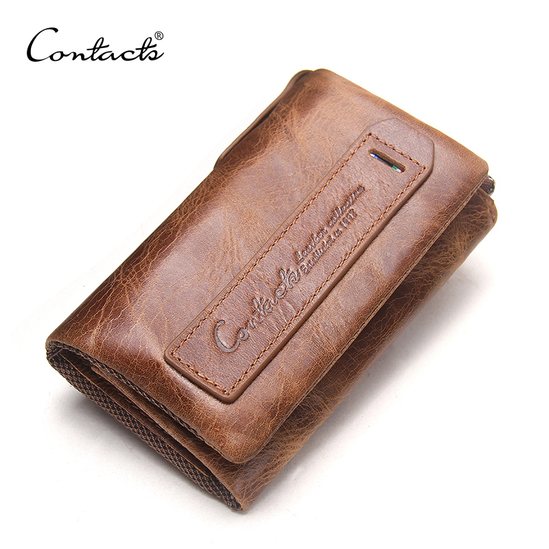 CONTACT'S 2019 Vintage Crazy Horse Leather Men Wallets Hasp Design Cowhide Key Purse Genuine Leather Coin Pocket For Man Wallet