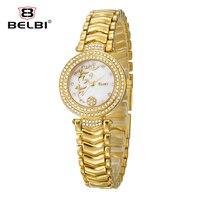 2016 Marque De Luxe BelBi Strass Montre-Bracelet Dames De Mode Bracelet En Acier Quartz Femmes Montre Fille Élégante Boutique Cadeau Relojes