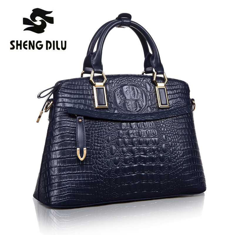 Fashion genuine leather bag handbags women famous brand shoulder bag crocodile top-handle bags female sac a main femme de marque hot sale 2016 france popular top handle bags women shoulder bags famous brand new stone handbags champagne silver hobo bag b075