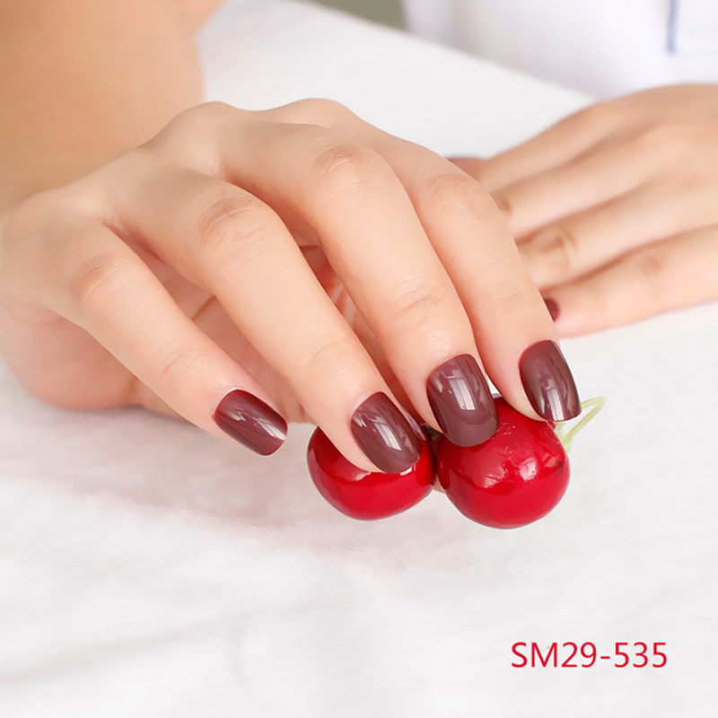 2018 24 pcs Exquisite Pure Color Nail Tips Full Color Sweet Acrylic ...
