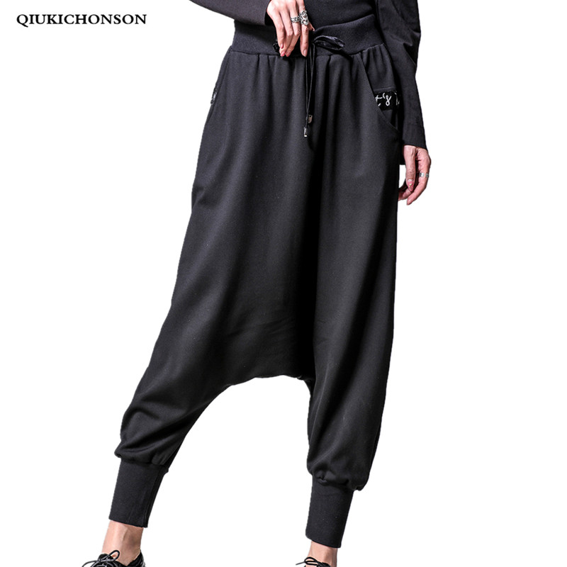 Hip Hop Black Harem Pants Women Spring 2019 Street Fashion Elastic Waist Embroidery Letter Pocket Loose Long Pleated Cross-Pants