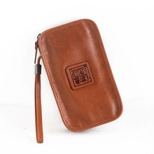 Unisex Style Genuine Vegetable Tanned Leather Men Women's Phone Purse Card
