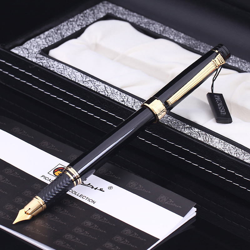 Pimio 917 0.5mm Metal Iridium Nib Fountain Pen with Original PU Gift Box Inking Pens Christmas Gift Card Free Shipping duke classic confucius bamboo 1 2mm curved tip iridium nib metal fountain pen with luxury original gift box ink pens for gift