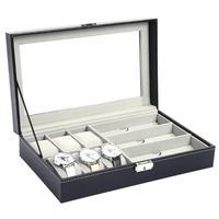 Multi Functional PU Leather Watch Sunglass Jewelry Ring Display Storage Box Sunglass Holder Organizer With 8